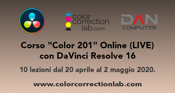 "Corso ""Color 201"" Online con DaVinci Resolve 16"